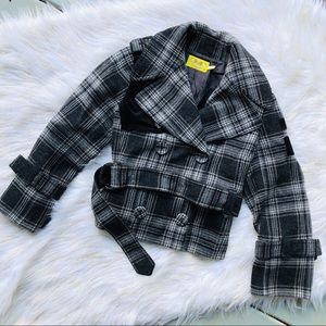Juicy Couture | Plaid Cropped Peacoat